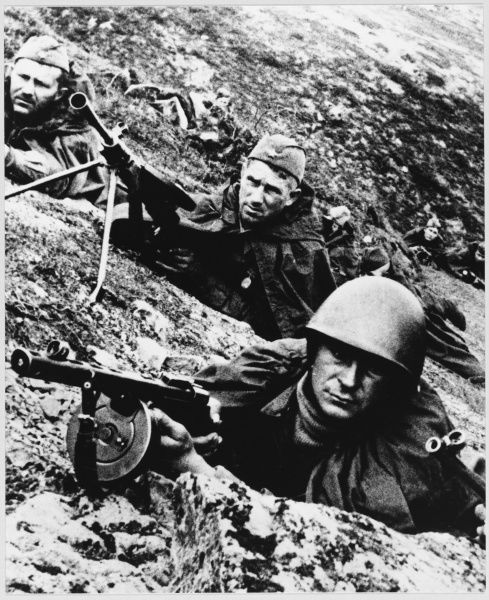 Red Army troops in a trench
