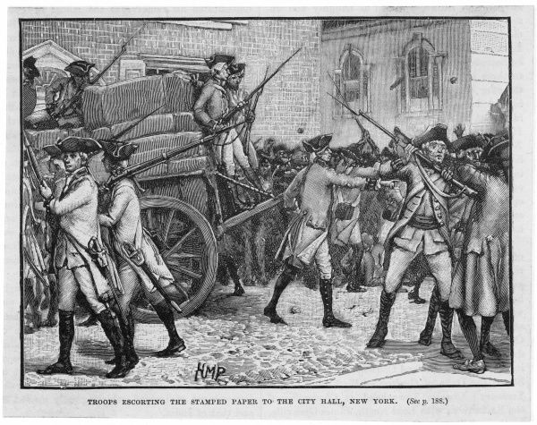 Stamp Act introduced in New York - troops escort the stamped paper to the city hall, New York
