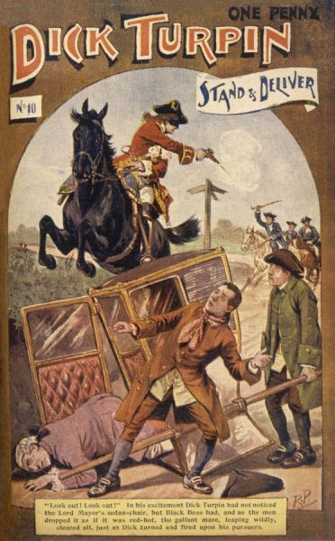 STAND AND DELIVER ! : Black Bess screeches to a halt and prevents Dick Turpin from crashing into the Lord Mayor, who has toppled from his sedan chair. Dick fires at the