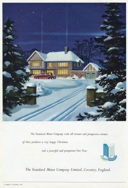 Advertisement for the Standard Motor Company of Coventry, England, wishing all their customers a Happy Christmas