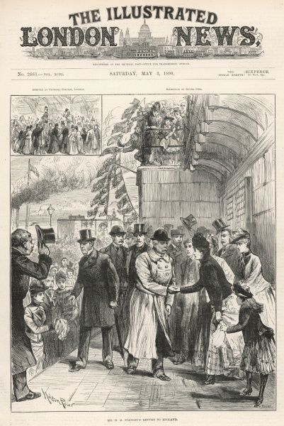 Mr H.M. Stanley is greeted by crowds of well-wishers on his return to Victoria Station in London after the Emin Pasha Relief Exhibition