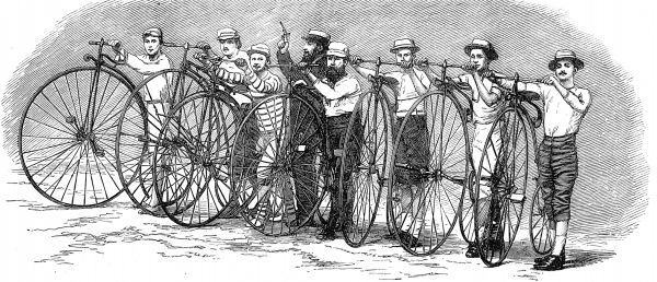 Engraving showing the competitors and their 'penny farthing' bicycles at the start of the Bath to London Bicycle race. They are shown under starter's orders, with the starting pistol held aloft
