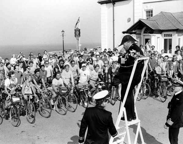 The start of a charity cycle ride in aid of Friends of the Earth, from Land's End in Cornwall to John o'Groats in Scotland