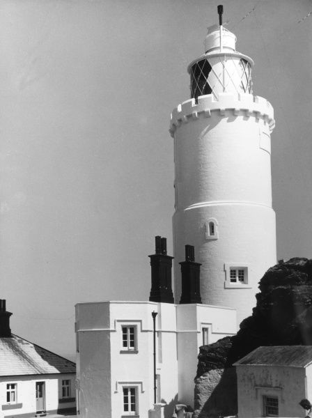The lighthouse at Start Point, on the south coast of Devon, England. Date: built 1836