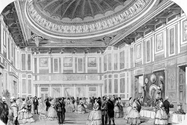 Engraving showing the interior of the then new State Refreshment Room, Buckingham Palace, London, 1857