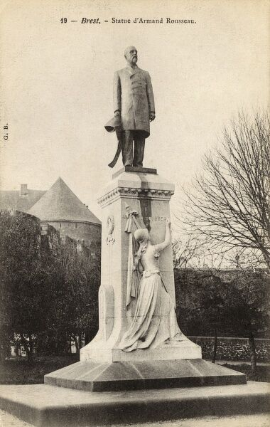 Statue of Armand Rousseau (1835-1896), French engineer at Brest, France. Date: circa 1910s