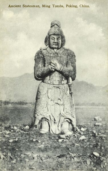 Statue at the Divine Road (or 'Sacred Way') - Ming Tombs, Beijing, China Date: circa 1910s