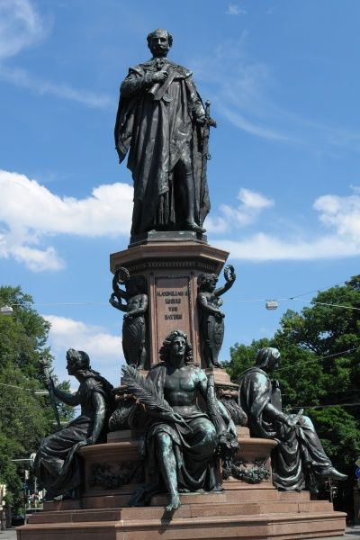 View of the statue of King Maximilian II of Bavaria on Maximilianstrasse in Munich, Germany