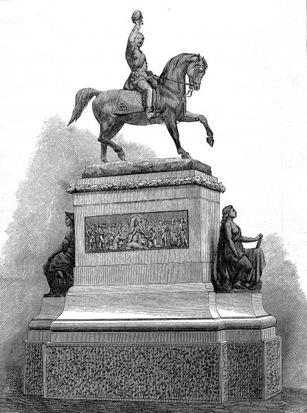 Engraving showing the equestrian statue of Prince Albert, Consort of Queen Victoria, in Holborn Circus, London, 1874