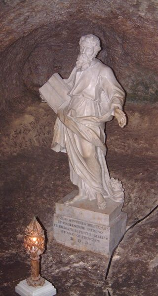 Carved marble statue of St Paul in St Paul's Catacombs, Rabat