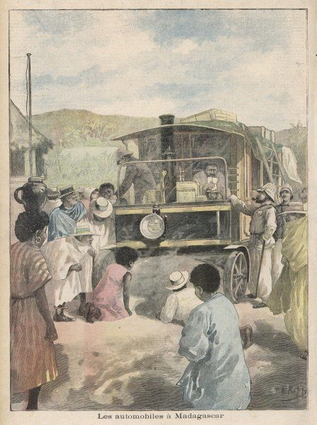 Steam transport employed by the French occupation force in Madagascar to carry supplies, much to the admiration of the natives