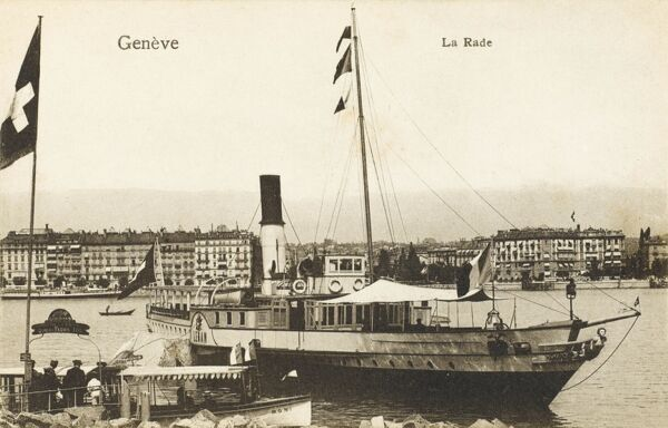 Geneva, Switzerland - Lake Leman / Geneva (Genfersee in German). The ferryboat pictured is called Leman