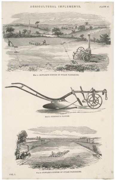 Comparison of two separate methods of ploughing using a steam engine. Howard's system (top) and Fowler's (below), with Hornsby's traditional animal-mounted plough between