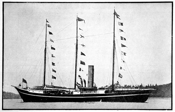 Photograph of the steam-ship 'Roosevelt' departing for the Arctic at the beginning of Robert E