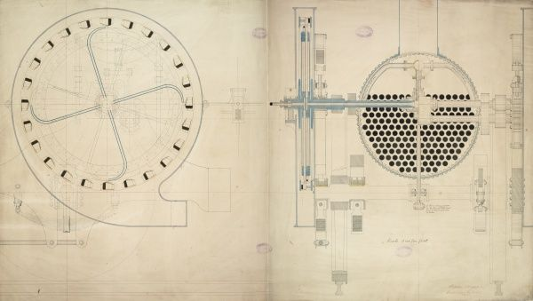 Detail of a steam turbine locomotive, turbine arrangement section and locomotive cross section Date: 1848