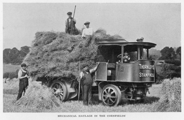 Mechanical haulage in the cornfields - a steam wagon helps bring in the harvest