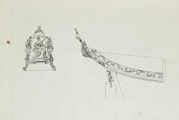 Sketch of the steam yacht Caledonia's stern decoration Date: 1815
