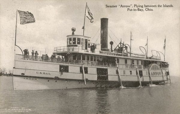 The Steamer Arrow, which sailed between in the islands of Lake Erie, Put-in-Bay, Ohio, America