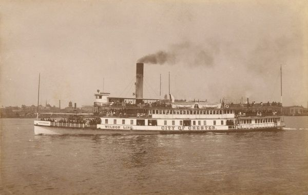 City of Chester Steamer of the Wilson Line, on the Delaware River, Chester, Pennsylvania, America