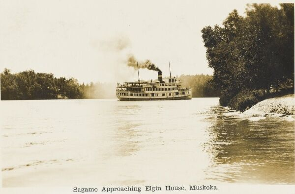 Large steamer 'Sagamo' approaching Elgin House, Muskoka Lakes, Ontario, Canada