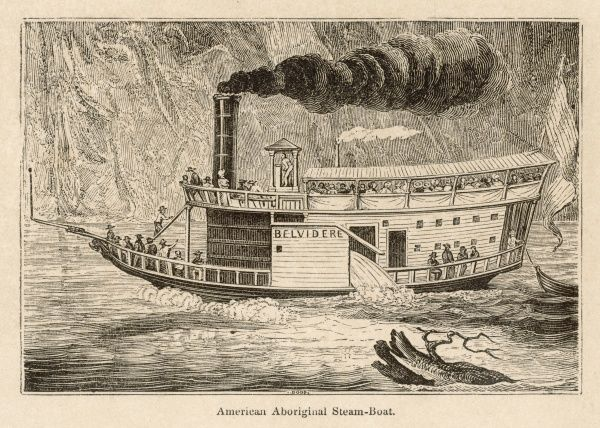The 'Belvidere' steam-boat plied successfully on the Ohio River for several years. It appears to have some kind of internal paddle wheel