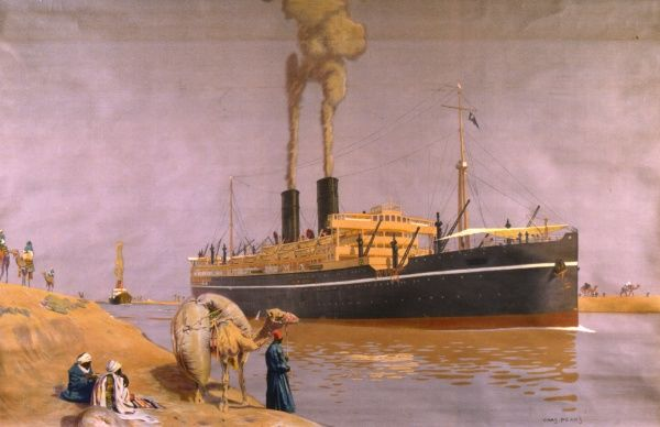 A steamship off the coast of Africa, no doubt engaged in the export and import of goods, in this Empire Marketing Board depiction
