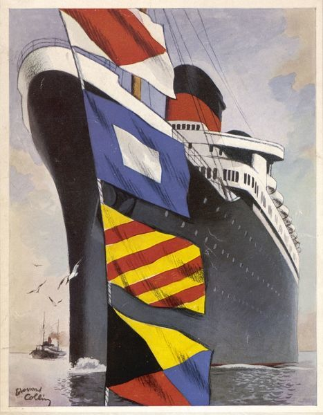 Flags and the stern of the 'Liberte' make a striking cover for this promotional brochure