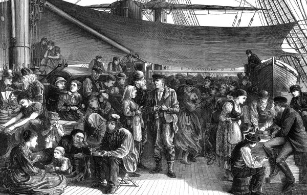Engraving showing the steerage of a North German Lloyd's Atlantic Steam-ship, 1872. Emigrants from many countries, heading for North America, are shown in this image. Date: 1872