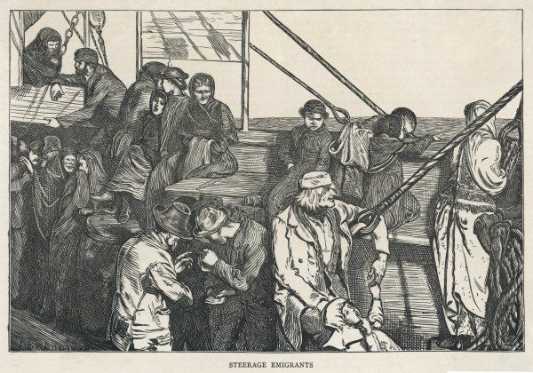 Steerage class passengers on an emigrant ship bound for America
