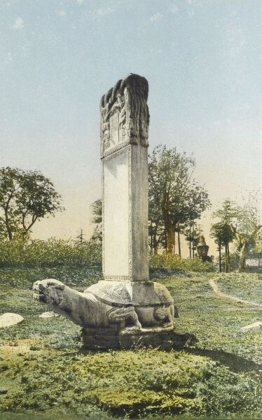 Stele-carrying turtle at the Ming Dynasty Tombs Nanjing, China Date: circa 1910s
