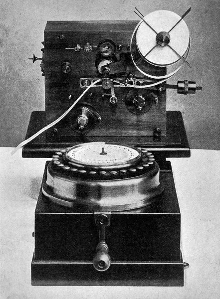 A photograph of Steljes' type-printing telegraph recorder, able to automatically transmit and print messages through a phone line, while callers were still conversing