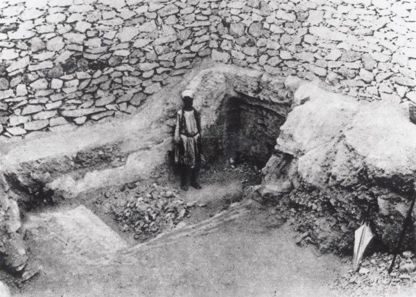 This photograph shows the 'Step Cut in the Rock' which led Mr Carter to the discovery of Tutankhamun's Tomb