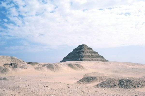 The step pyramid of Djoser at Saqqara, the oldest stone monument in the world, built around 2770 BC