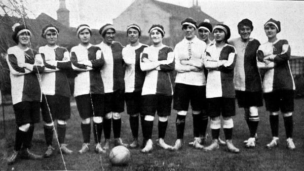 Photograph of the Sterling Company's Women's Football Team, November 1917. The photograph was taken prior to a match against Harrod's Women's Football Team, played at Barnes, South London. The Sterling Team won the match 8-2