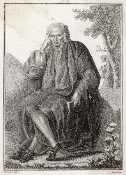LAURENCE STERNE author, depicted in pensive mood with his characteristic finger-on-forehead gesture