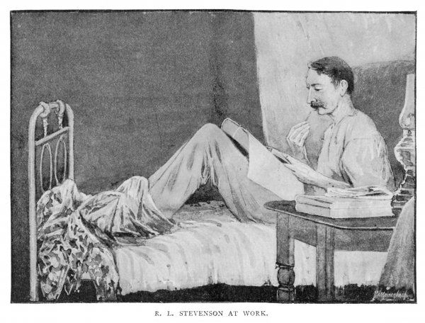 ROBERT LOUIS STEVENSON the writer at work in Vailima