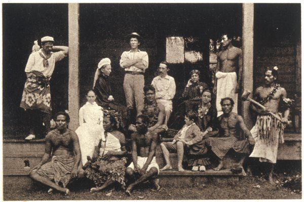 ROBERT LOUIS STEVENSON Scottish writer with his mother, family and household at Vailima