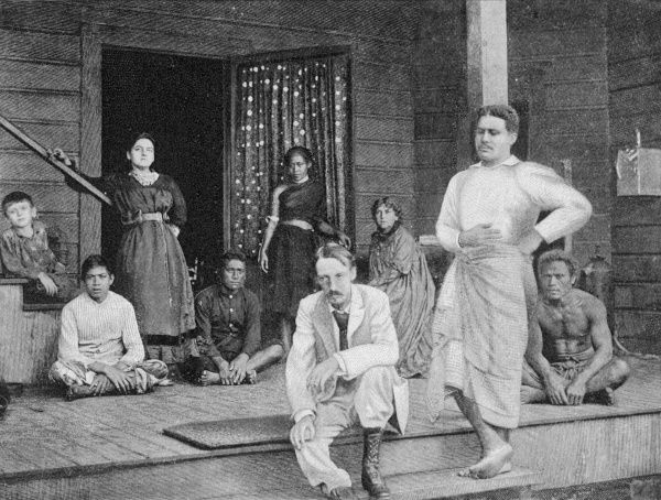 ROBERT LOUIS STEVENSON Scottish writer with family and friends on the verandah at Vailima