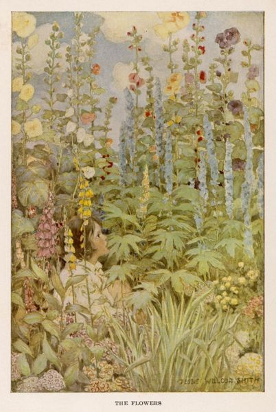 A boy sits, with knees drawn up towards his chest, in a pretty, English cottage garden surrounded by Hollyhocks, Delphiniums, Sweet Williams, Primulas & Foxgloves