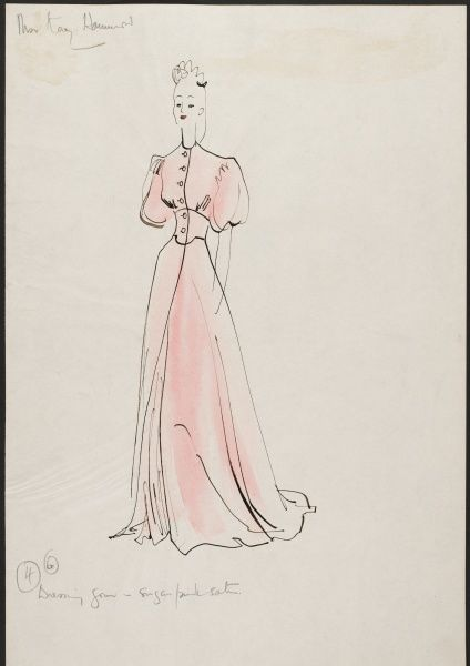 "A design by Victor Stiebel for a sugar pink satin dressing gown worn by actress Kay Hammond in her role as Elvira Condomine in the 1945 David Lean film""Blithe Spirit&quot"