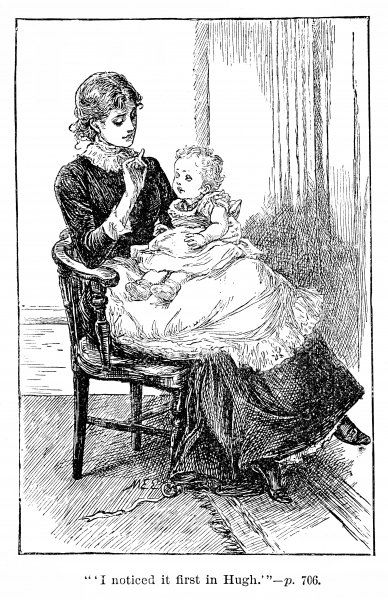 A young mother, with baby on her lap, looks down tenderly as she holds up a finger to interest the child. Perhaps the baby is learning to focus