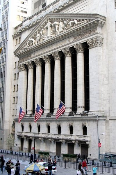 New York Stock Exchange in the Wall Street Financial District of downtown New York, America