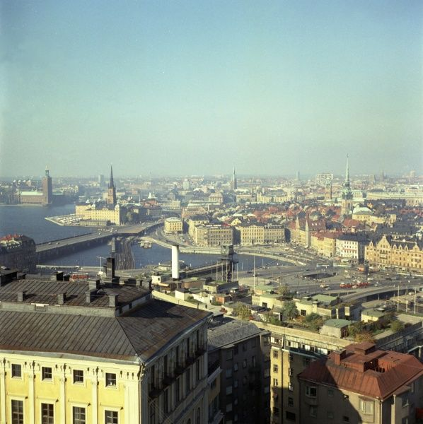 Stockholm 1960s - view over Old Town. Date: 1960s