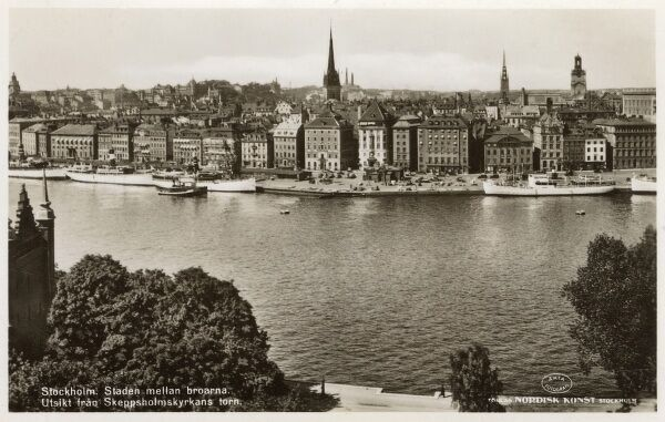 "Stockholm, Sweden - Panoramic View of the City (""The City Between the Bridges"") Date: circa 1940s"