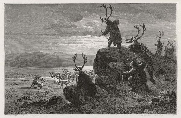 Hunting reindeer during the Stone Age (Palaeolithic Era)