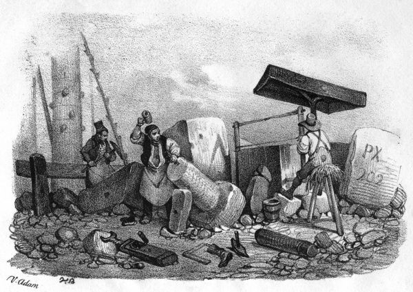 French stoneworkers (tailleurs de pierres) at work Date: circa 1845
