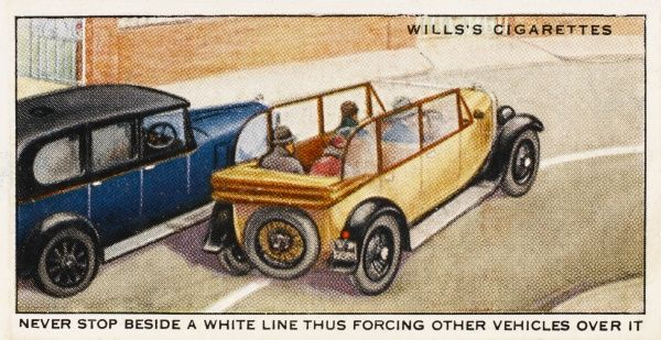 'Never stop beside a white line, thus forcing other vehicles over it.&#39