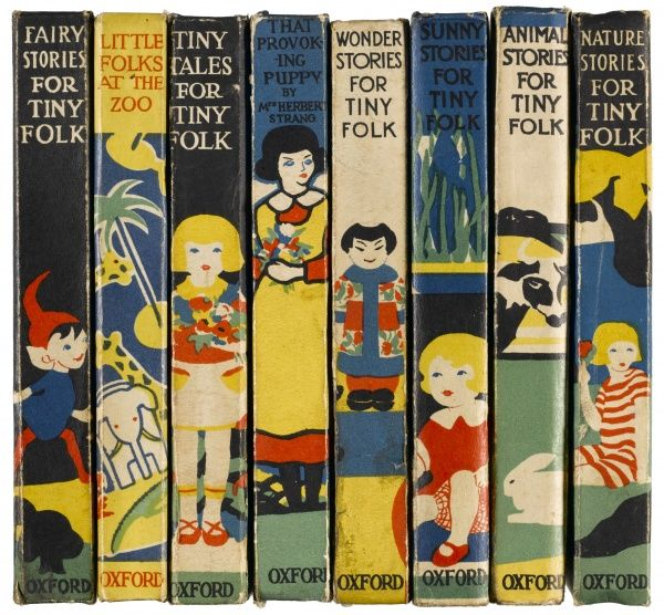 A selection of spines in bold primary colours taken from the 1920s series of Stories for Little Folk books