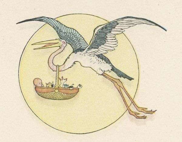 A stork brings a baby in a basket