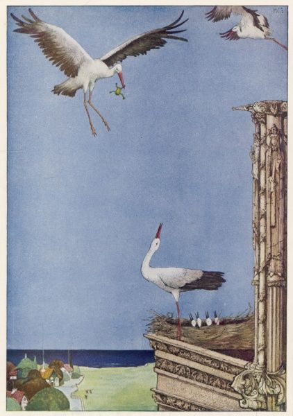 The father stork brings a frog to his nestlings in the story by Hans Christian Andersen